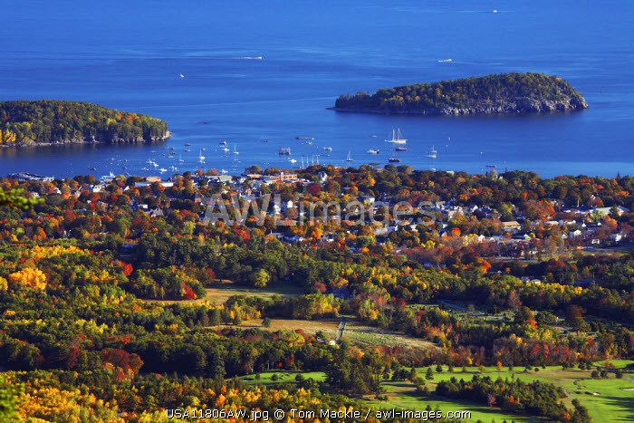 View over Bar Harbor in Autumn, Acadia National Park, Maine, USA