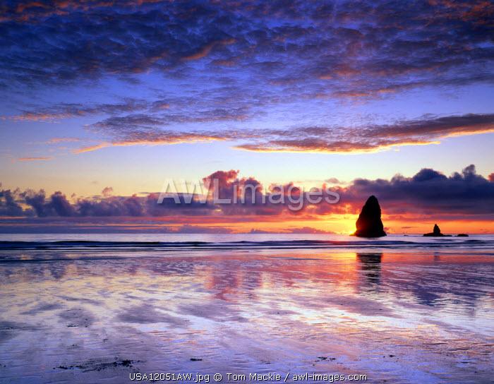 Cannon Beach at Sunset, Oregon, USA