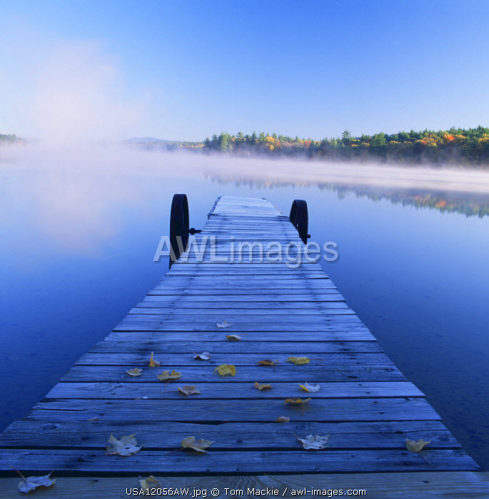 Jetty on Lake in Mist, Songo Pond, Bethal, Maine, USA
