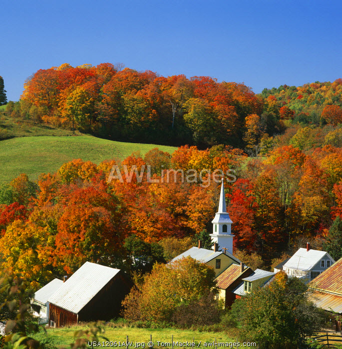 View over East Corinth in Autumn, Vermont, USA
