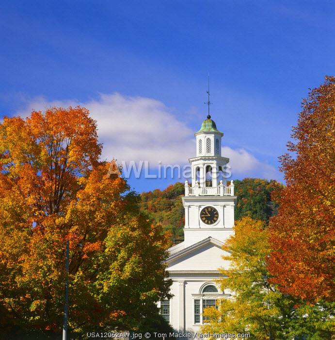 Church in Autumn, Woodstock, Vermont, USA