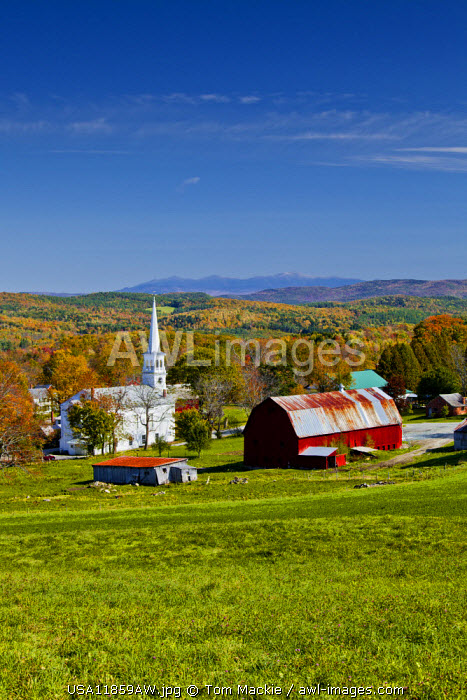 View over Peacham, Vermont, USA