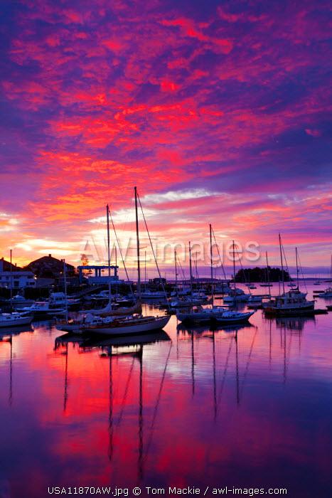 Camden Harbor at Sunrise, Maine, USA