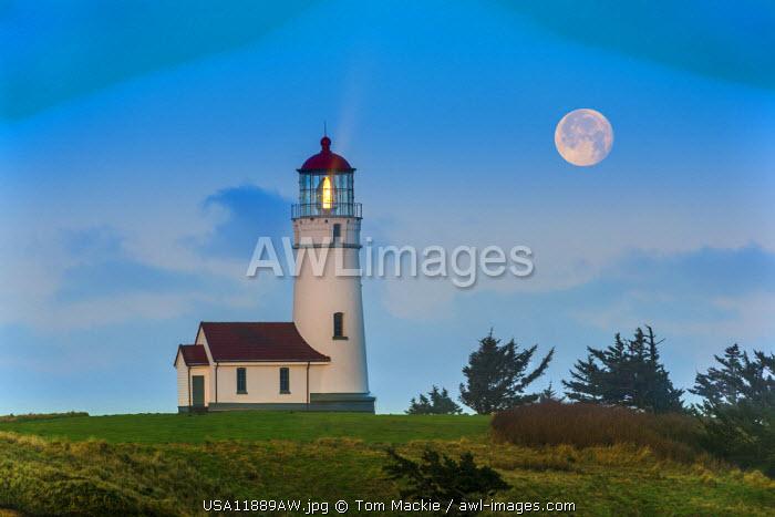 Full Moon over Cape Blanco Lighthouse, Oregon, USA