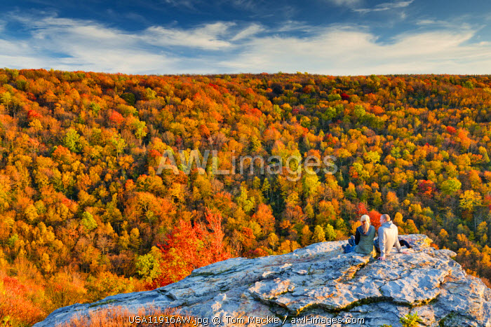 Couple at Lindy Point in Autumn, Blackwater Falls State Park, West Virginia, USA