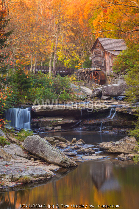 Glade Grist Mill in Autumn, Babcock State Park, West Virginia, USA