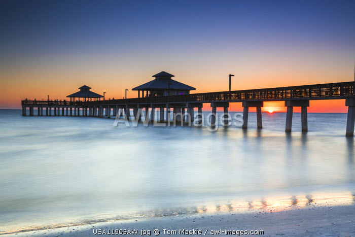 Fort Myers Pier at Sunset, Florida, USA