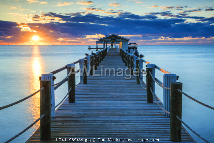Pier at Sunrise, Islamorada, Florida Keys, USA