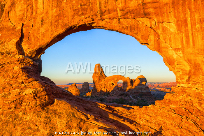 Turret Arch Through North Window, Arches National Park, Utah, USA