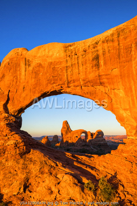 Turret Arch Framed by North Window, Arches National Park, Utah, USA