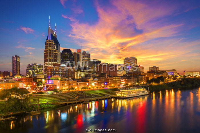 Nashville Skyline at Sunset, Nashville, Tennessee, USA