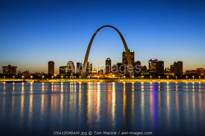 St. Louis Skyline at Night, Missouri, USA