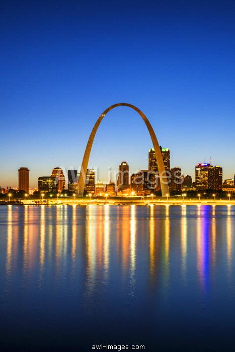 St. Louis Skyline at Night, Missouri, USA