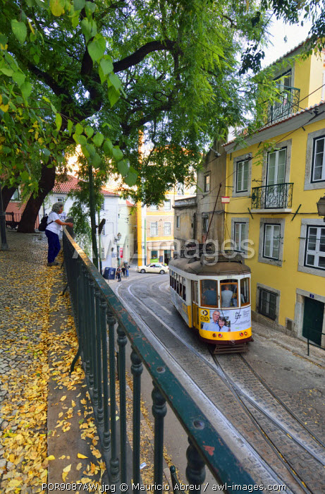The famous tramway number 28 in Alfama district. Lisbon, Portugal (MR)