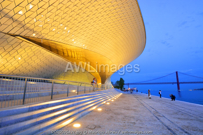 The MAAT (Museum of Art, Architecture and Technology), bordering the Tagus river, was designed by British architect Amanda Levete. Lisbon, Portugal (MR)
