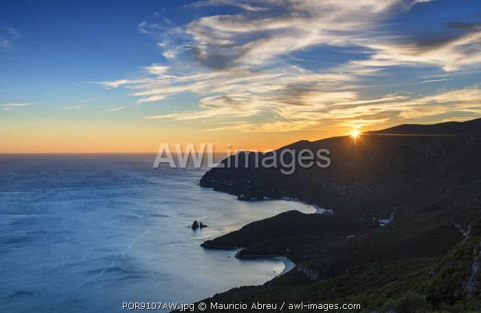 Arrabida Nature Park and the Atlantic Ocean at sunset. Setubal, Portugal