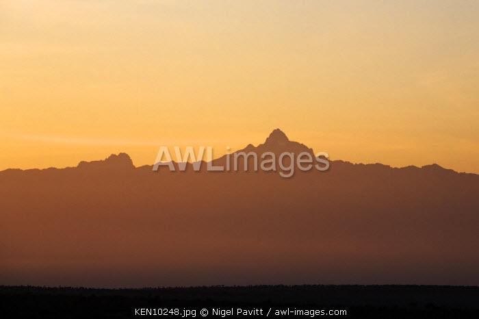 Kenya, Laikipia.  The imposing peak on Mount Kenya at dawn.