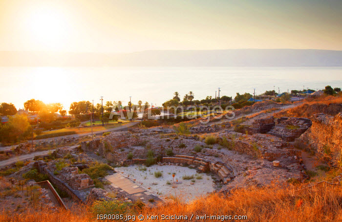 Israel, Galilee, Tiberias. Ruins of the theatre in the Roman City of Tiberias overlooking the Sea of Galilee.