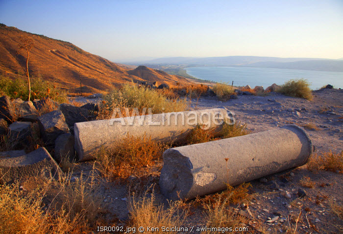 Israel, Galilee. Ruins from the Ancient Roman city of Sussita otherwise known as Hippos on the Golan Heights overlooking the Sea of Galilee of which surrounding territory served as an Israel base over the offensive during the Six Day War.