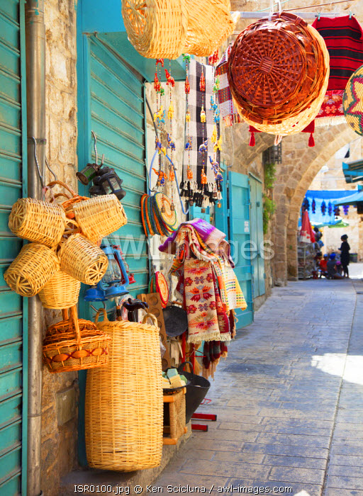 Israel, Akko. Street at the market with products on display. Unesco.
