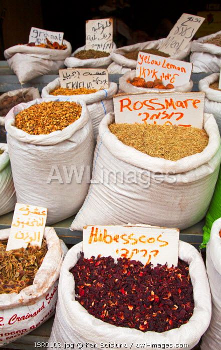 Israel, Akko. Spices on sale at the market. Unesco.
