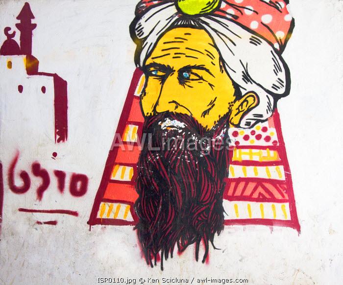 Israel, Akko. Graffiti on a wall.