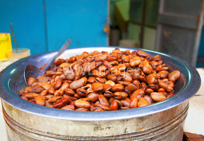 Israel, Akko. Boiled broad beans at the market.