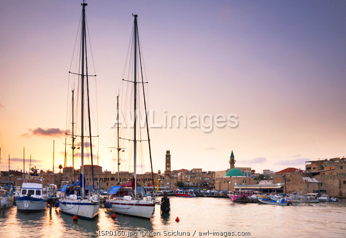 Israel, Akko. Yachts at the port in the old town.