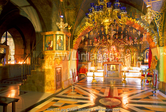 Israel, Jerusalem. The Chapel of Calvary where it is belived was the mount where Christ was crucified at the church of the Holy Sepulchre. Unesco.