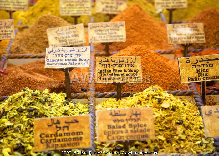 Israel, Jerusalem. Spices sold at the market.