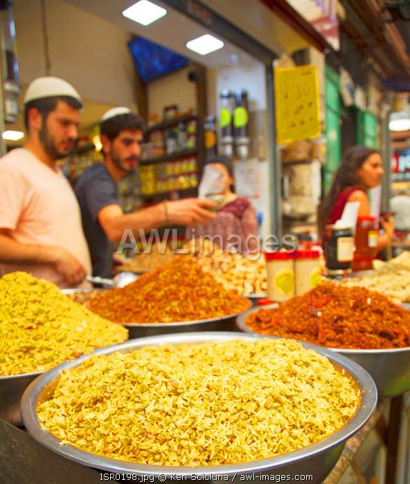 Israel, Jerusalem. A spice stall at the Mahane Yehuda Market.