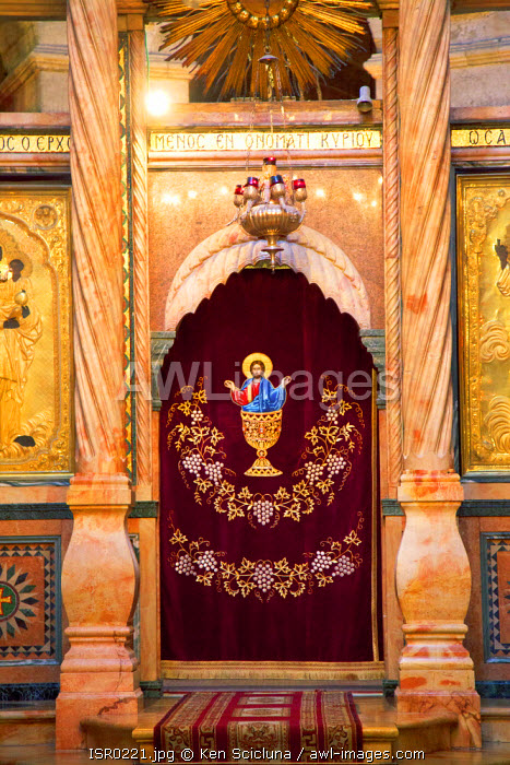 Israel, Jerusalem. The Iconostasis at the Katholicon during a Greek Orthodox ceremony at the Church of the Holy Sepulchre.
