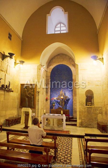 Israel, Jerusalem. Interior of the Roman Catholic chapel inside the Church of the Holy Sepulchre.Unesco.