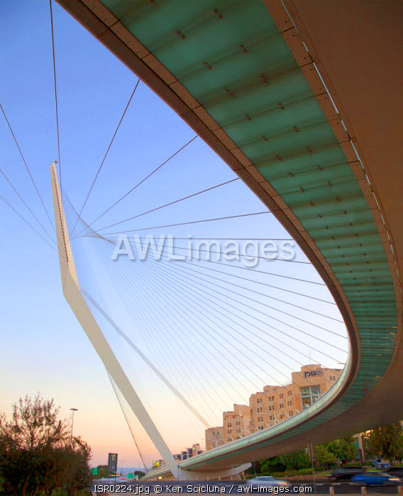 Israel, Jerusalem. Chords Bridge or the Bridge of Strings designed by Spanish architect and engineer Santiago Calatrava. Unesco.