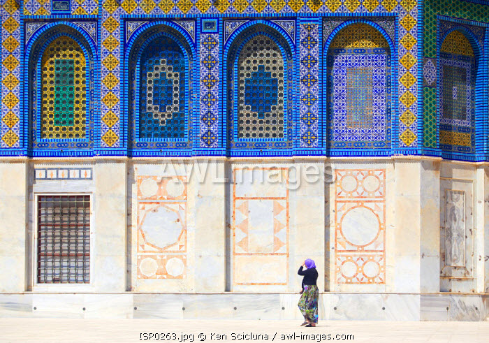Israel, Jerusalem. Detail of the Dome of the Rock wall with armenian ceramic. Unesco.