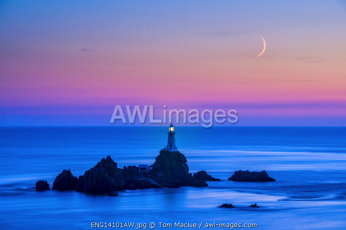 Moon over Corbiere Lighthouse, Jersey, Channel Islands