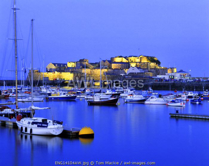 Castle Cornet at Night, St. Peter Port, Guernsey, Channel Islands
