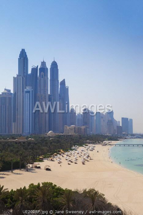 United Arab Emirates, Dubai, Beach at Dubai Internet City and skyline