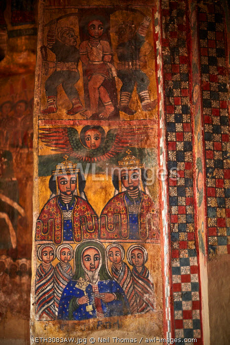 Church paintings depicting the history of christianity in Ethiopia, Africa