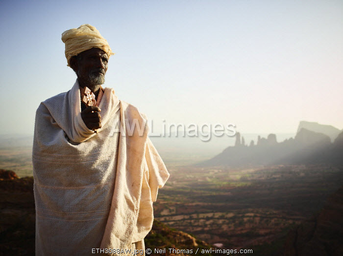 Priest portrait in the morning, Tigray, Ethiopia, Africa