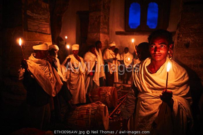 Night vigil in the rock hewn church in Tigray, Ethiopia, Africa