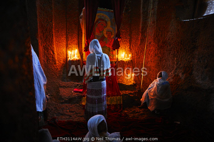 Pilgrims pray at the alter of the virgin, Bet Medhane, Ethiopia, Africa