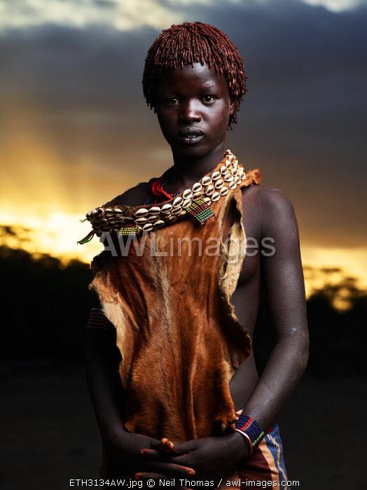 Hamer girl portrait, Ethiopia, Africa