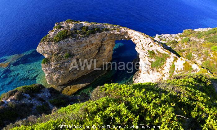 Coastal arch in Paxos island, Greece.