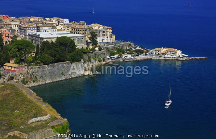 Elevated view of Corfu Island, Greece.