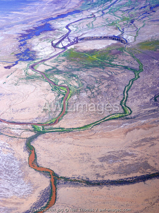 Aerial shot of the Rift Valley and Northern Kenya, Africa