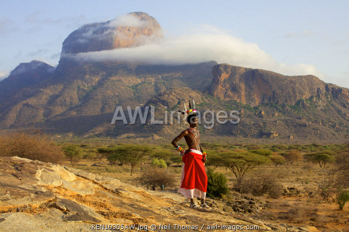 Samburu warrior at Poi, Northern Kenya, Africa