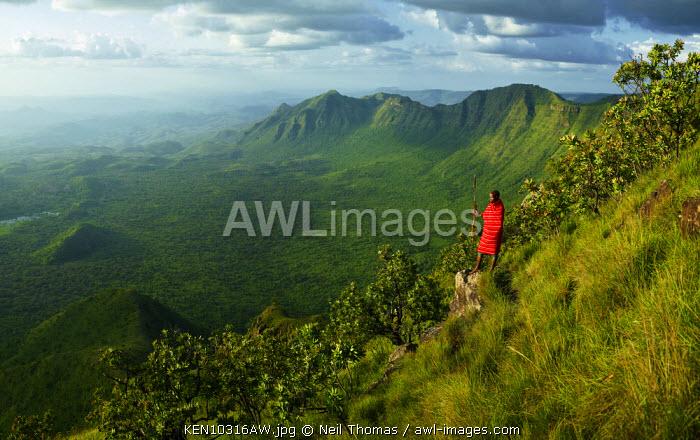 Samburu warrior looks out over the rift valley, Kenya, Africa