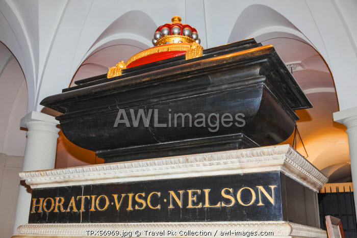 England, London, The City, St Paul's Cathedral, The Cript, Nelson's Tomb