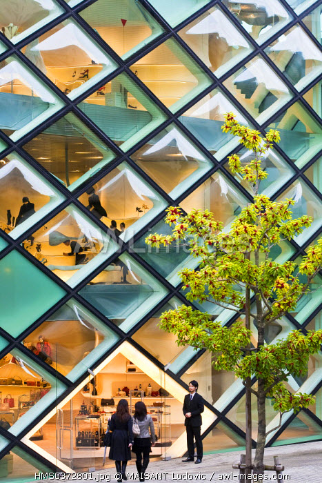 Japan, Honshu Island, Tokyo, Minami-Aoyama near Omotesando, the Italian luxurious shop Prada by the architects Herzog & de Meuron